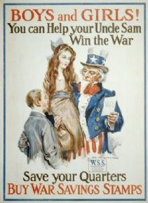 Vintage World War Poster 'Boys and Girls! You Can Help Your Uncle Sam Win the War.""
